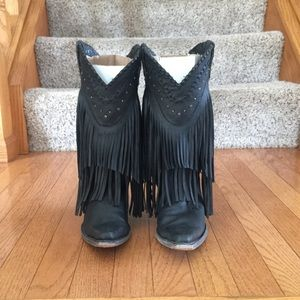 Women's black leather fringe cowgirl boots